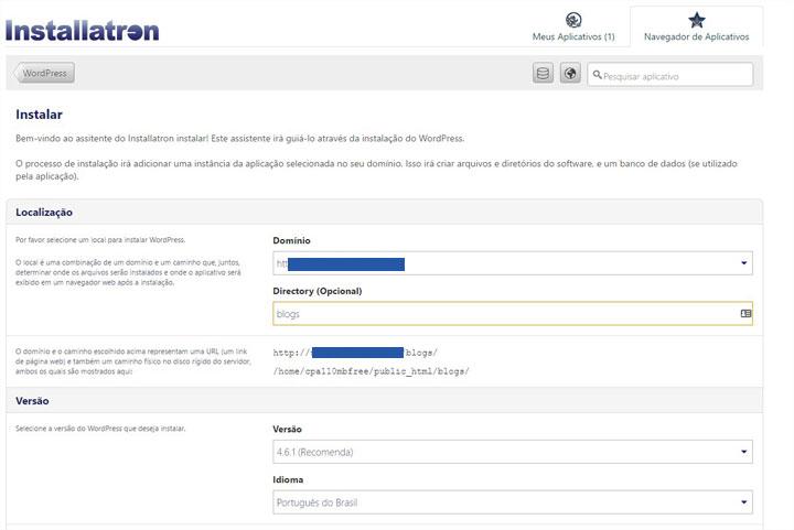 detalhes instalação wordpress
