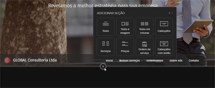 adicionar elementos webnode