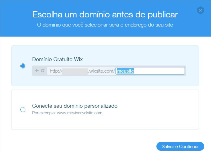 publicacao de sites wix